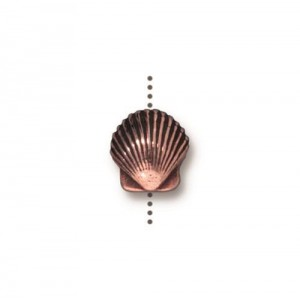 Small Shell Bead Antiqued Copper Plate - Pkg of 20 TierraCast®