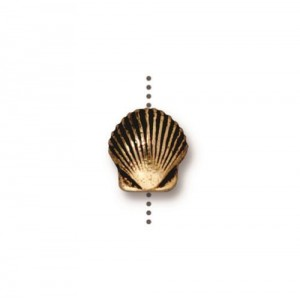 Small Shell Bead Antiqued Gold Plate - Pkg of 20 TierraCast®