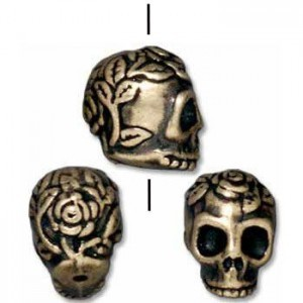 Bead Skull Brass Oxide - Pkg of 20 TierraCast® Britannia Pewter