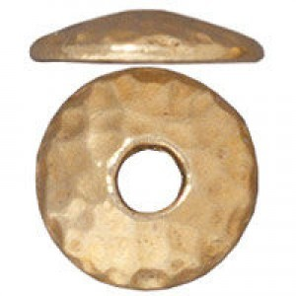 Bead Cap 10mm Hammertone Lg Hole Bright Gold - Pkg of 20 TierraCast® Britannia Pewter