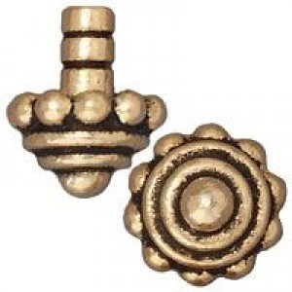 Bead Cap Beaded Cap Gi Antique Gold - Pkg of 20 TierraCast® Britannia Pewter