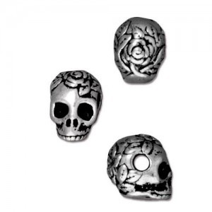 Skull 10mm Bead 2.5mm Horizontal Hole Antique Silver - Pkg of 20 TierraCast® Britannia Pewter