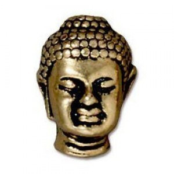 Buddha 14x10mm Bead 2.5mm Hole Antique Gold - Pkg of 20 TierraCast® Britannia Pewter