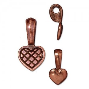 Heart Glue-on Bail Antiqued Copper Plate - Pkg of 20 TierraCast®