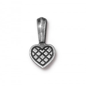 Heart Glue-on Bail Antiqued Pewter - Pkg of 20 TierraCast®