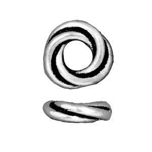Bead 8mm Twisted Spacer Antique Silver - Pkg of 20 TierraCast® Britannia Pewter