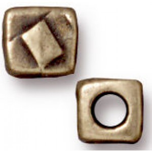 Bead 5mm Hole 2mm Small R&R Cube Brass Oxide - Pkg of 20 TierraCast® Britannia Pewter