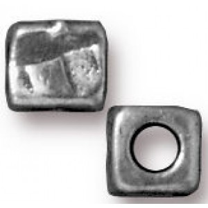 Bead 5mm Hole 2mm Small R&R Cube Antique Pewter - Pkg of 20 TierraCast® Britannia Pewter