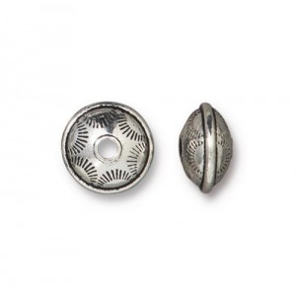 Western Bead Antiqued Silver Plate - Pkg of 20 TierraCast®