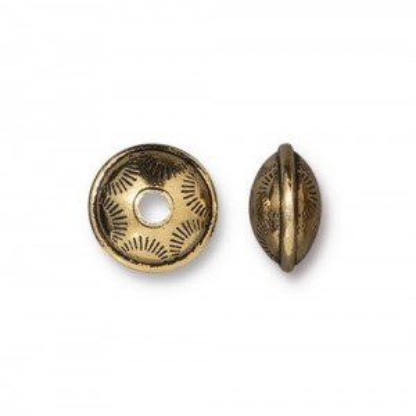 Western Bead Antiqued Gold Plate - Pkg of 20 TierraCast®