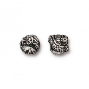 Dragon Bead Antiqued Silver Plate - Pkg of 20 TierraCast®
