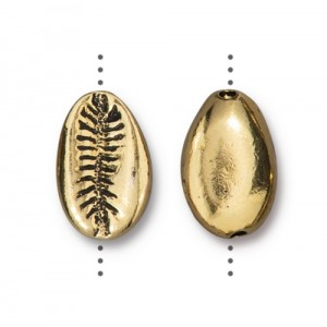 Cowrie Shell Bead Antiqued Gold Plate - Pkg of 20 TierraCast®