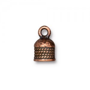 Rope Cord End 5mm Antiqued Copper Plate - Pkg of 20 TierraCast®