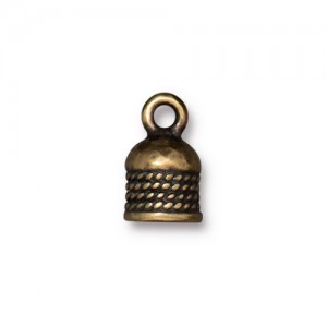 Rope Cord End 5mm Oxidized Brass Plate - Pkg of 20 TierraCast®