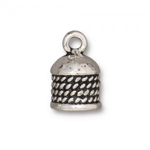 Rope Cord End 8mm Antiqued Silver Plate - Pkg of 10 TierraCast®