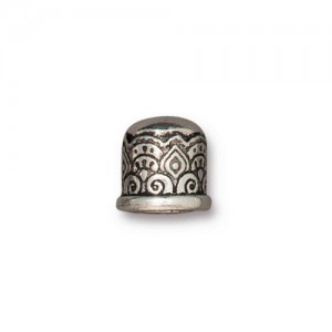 Temple Cord End 6mm No Loop Antiqued Silver Plate - Pkg of 20 TierraCast®