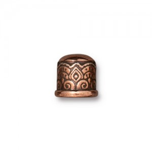 Temple Cord End 6mm No Loop Antiqued Copper Plate - Pkg of 20 TierraCast®