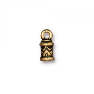 Temple Cord End 2mm Antiqued Gold Plate - Pkg of 20 TierraCast®
