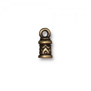 Temple Cord End 2mm Oxidized Brass Plate - Pkg of 20 TierraCast®