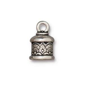 Temple Cord End 6mm Antiqued Silver Plate - Pkg of 20 TierraCast®