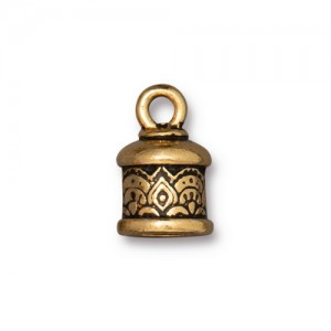 Temple Cord End 6mm Antiqued Gold Plate - Pkg of 20 TierraCast®