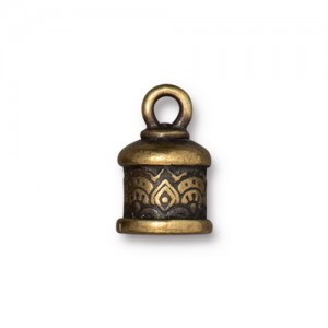 Temple Cord End 6mm Oxidized Brass Plate - Pkg of 20 TierraCast®