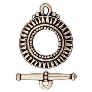 Clasp Set Sunburst Antique Fine Silver - Pkg of 10 TierraCast® Britannia Pewter