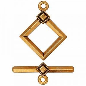 Clasp Set Deco Diamond Antique Gold - Pkg of 10 TierraCast® Britannia Pewter
