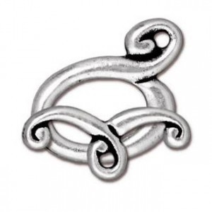 Melody Clasp Set 17mm Bar & 12mm Ring Antique Silver - Pkg of 10 TierraCast® Britannia Pewter