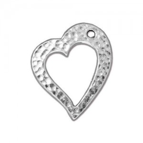 Hammertone Heart Rhodium Plated - Pkg of 20 TierraCast®