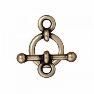 10mm Ring + 16mm Bar Clasp Set 3/8 Inch Anna Brass Oxide - Pkg of 10 TierraCast® Britannia Pewter
