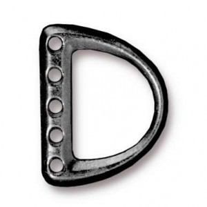 5-Hole Md D Ring Link 19.4x15.4mm (9.3mm Id) Black Finish - Pkg of 20 TierraCast® Britannia Pewter