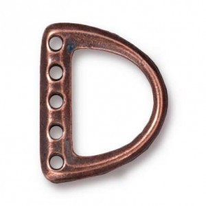 5-Hole Md D Ring Link 19.4x15.4mm (9.3mm Id) Antique Copper - Pkg of 20 TierraCast® Britannia Pewter