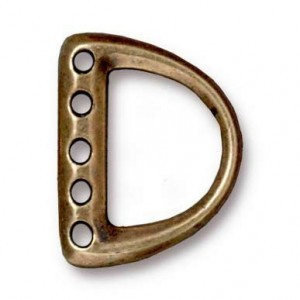 5-Hole Md D Ring Link 19.4x15.4mm (9.3mm Id) Brass Oxide - Pkg of 20 TierraCast® Britannia Pewter