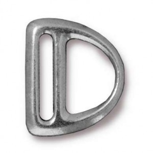 Slotted Md D Ring Link 19.25x16.3mm Antique Pewter - Pkg of 20 TierraCast® Britannia Pewter