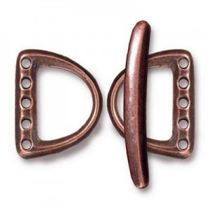 Set of 2 5h Md D Rings 19.4mm and 1 Bar 29.5mm Antique Copper - Pkg of 5 TierraCast® Britannia Pewter