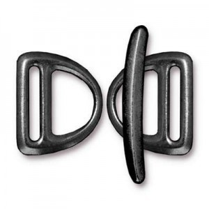 Set of 2 Slotted Md D Rings 19.5mm and 1 Bar 29.5mm Black Finish - Pkg of 5 TierraCast® Britannia Pewter
