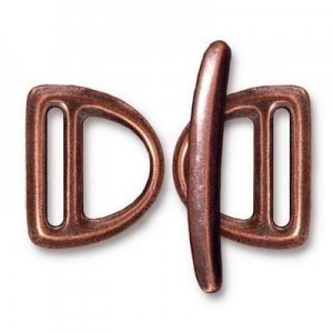 Set of 2 Slotted Md D Rings 19.5mm and 1 Bar 29.5mm Antique Copper - Pkg of 5 TierraCast® Britannia Pewter