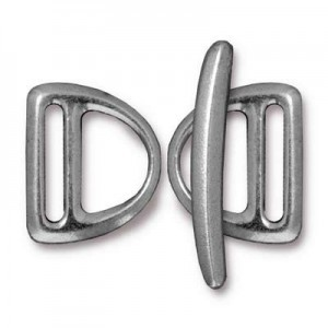 Set of 2 Slotted Md D Rings 19.5mm and 1 Bar 29.5mm Antique Pewter - Pkg of 5 TierraCast® Britannia Pewter