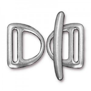 Set of 2 Slotted Md D Rings 19.5mm and 1 Bar 29.5mm Bright Rhodium - Pkg of 5 TierraCast® Britannia Pewter