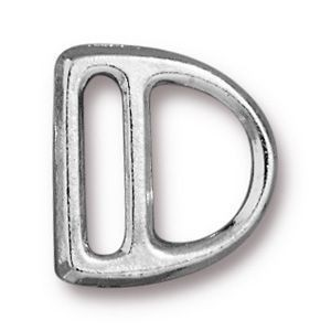 Slotted Sm D Ring 14x15mm (10mm Slot) Bright Rhodium - Pkg of 20 TierraCast® Britannia Pewter