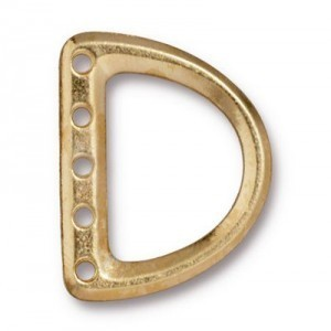 5-Hole Lg D Ring Link 24x19mm (12mm Id) Bright Gold - Pkg of 20 TierraCast® Britannia Pewter