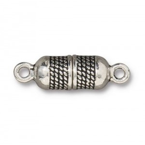 Rope Magnetic Clasp Antiqued Silver Plate - Pkg of 5 TierraCast®
