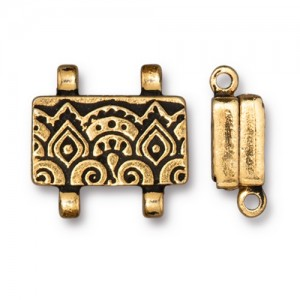 Temple Stitch-in Magnetic Clasp Antiqued Gold Plate - Pkg of 5 TierraCast®
