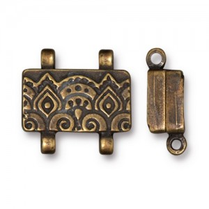 Temple Stitch-in Magnetic Clasp Oxidized Brass Plate - Pkg of 5 TierraCast®