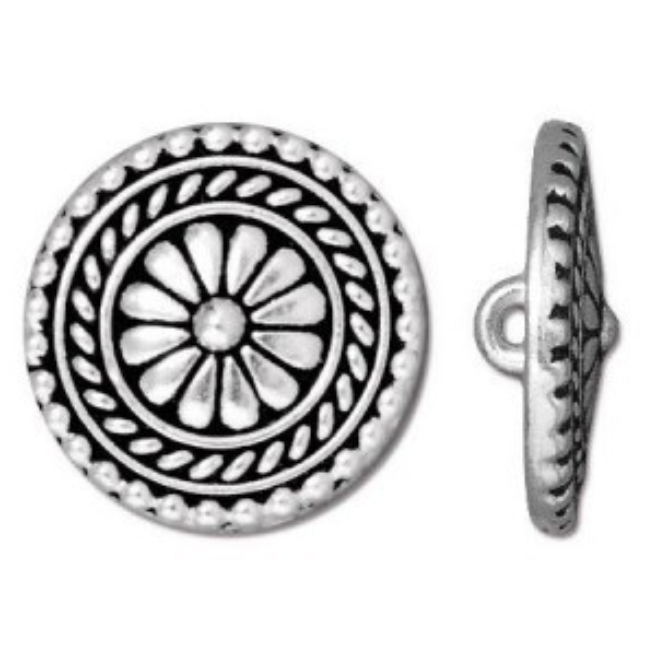 18mm Bali Button Antique Silver - Pkg of 20 TierraCast® Britannia Pewter