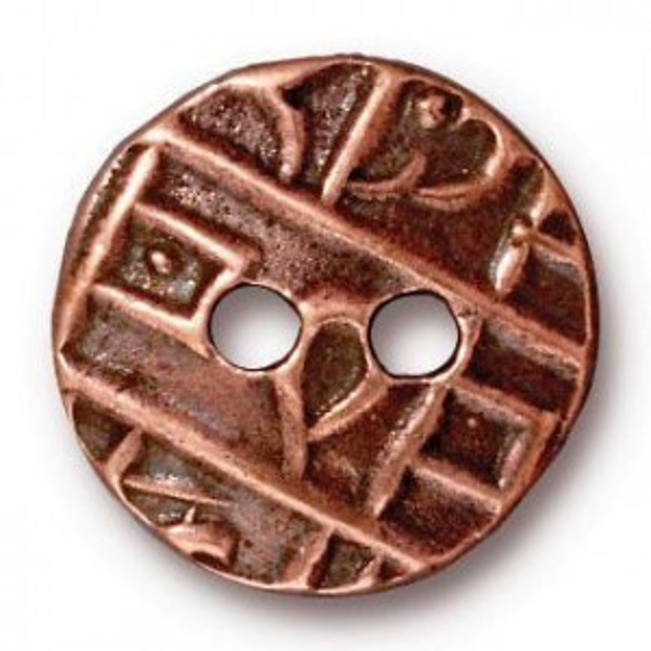 17.5mm Round Coin Button Antique Copper - Pkg of 20 TierraCast® Britannia Pewter