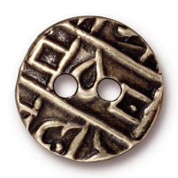 17.5mm Round Coin Button Brass Oxide - Pkg of 20 TierraCast® Britannia Pewter