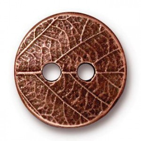 17mm Round Leaf Button Antique Copper - Pkg of 20 TierraCast® Britannia Pewter