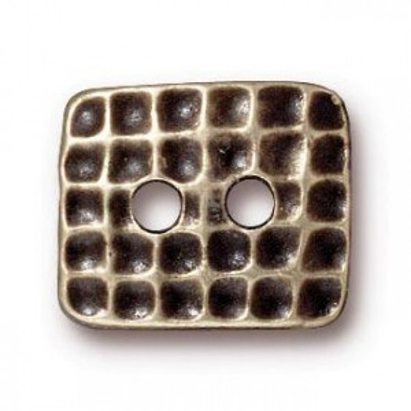 15x12.5mm Rectangle Hammertone Button Brass Oxide - Pkg of 20 TierraCast® Britannia Pewter
